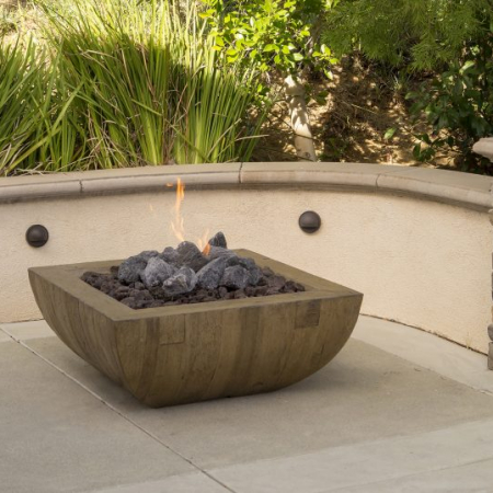 "American Fyre Designs 36″ BORDEAUX SQUARE ""RECLAIMED WOOD"" FIRE BOWL"
